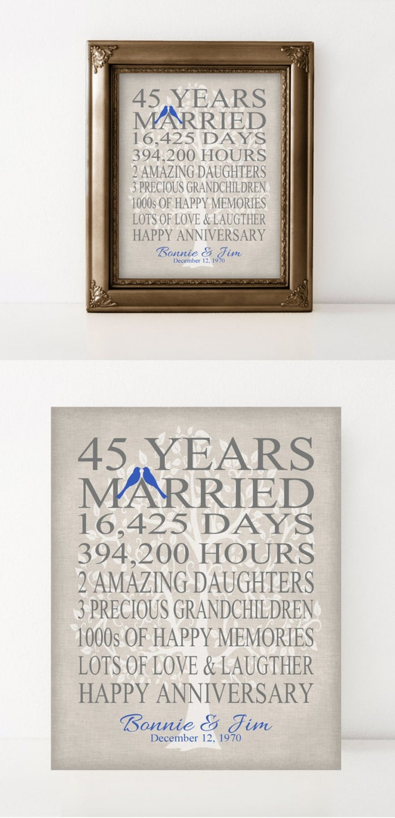 45th wedding anniversary gift for parents by printsbychristine for Gifts for parents on anniversary