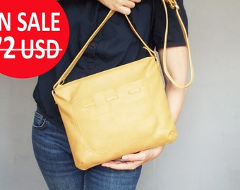 Yellow leathercrossbody bag. Yellow leather shoulder purse. Small leather crossobdy bag.