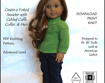 Pixie Faire Grace's Gifts Yoking Around Doll Clothes Knitting Pattern for 18 inch American Girl Dolls - PDF