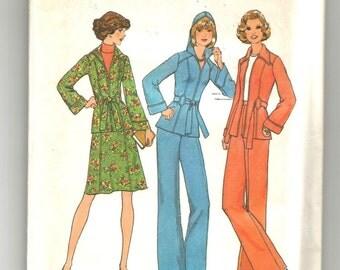 7094 Simplicity Sewing Pattern Unlined Jacket Optional Hood Skirt Pants UNCUT Size 8 Vintage 1970s
