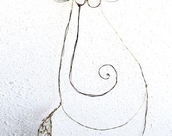 Boho  Metal and Copper wire crochet sculpture / Boho Decor, Retro Decor, Unique Decor, Vintage Decor