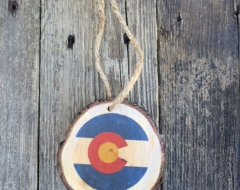 Colorado Flag Wood Slice Ornament