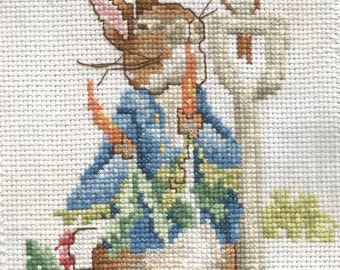 """COMPLETED The Tale of PETER RABBIT Cross Stitch / Hand Stitched - Completed  / Framed in Oak /  5"""" x 7"""" / Free Shipping!"""