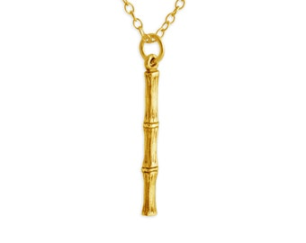 Bamboo Stick Charm Pendant Necklace #14k Gold Plated over 925 Sterling Silver #Azaggi N0464G
