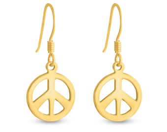 Peace Sign Hippie Symbol Drop Dangle Hook Earrings #14K Gold Plated over 925 Sterling Silver #Azaggi E0507G