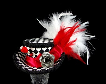 Queen of Heats - Black, Red, and White Harlequin Mini Victorian Riding Hat Fascinator,  Alice in Wonderland, Mad Hatter Tea Party, Derby Hat