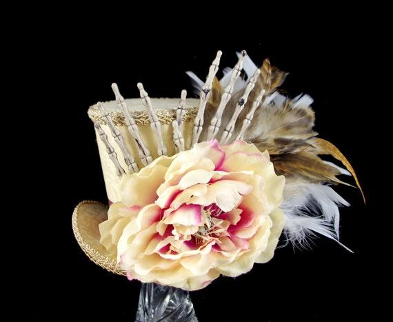 Cream and Pink Flower Skeleton Hands Halloween Large Mini Top Hat Fascinator, Alice in Wonderland, Mad Hatter Tea Party, Derby Hat
