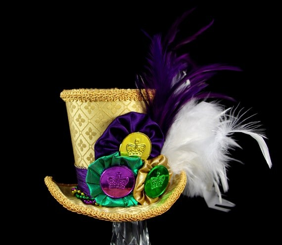 Mardi Gras Carnival Gold,Purple, and Green Large Mini Top Hat Fascinator, Alice in Wonderland, Mad Hatter Tea Party, Victorian Derby