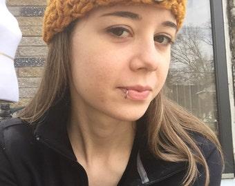 Butterscotch Button Headband