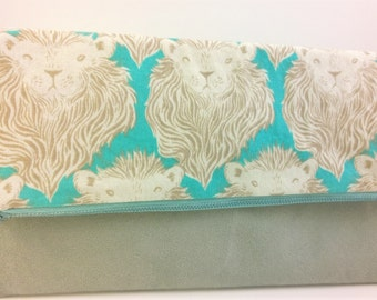 Lion Foldover Suede Clutch - Mint Grey / Magnetic Snap / Upcycled Repurposed Suede