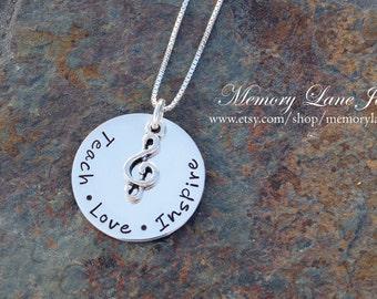 Music Teach Love Inspire - Music Teacher Necklace - Band Teacher - Teacher Appreciation - End of School Year Gift - Music Teacher Gift