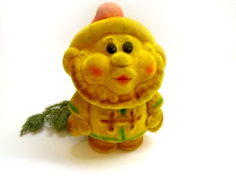 Gnome Rubber Flocking Toy Soviet Leprechaun Soft Flocking Santa's Elf SnowWhites' Dwarf Figurine Nursery Decor Estonian Collectible 1970s