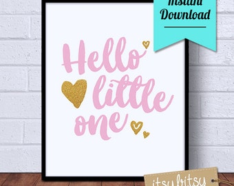 ON SALE! 25% OFF! Nursery Art Print, Instant Download, Hello Little One nursery wall art, nursery print, nursery decor, printable art
