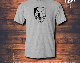 Guy Fawkes Anonymous Mask Shirt - Gray Cotton T-shirt - Vendetta - Anon - 5th of November -