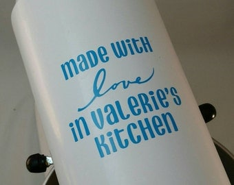 Made with love in (your) kitchen, Mini KitchenAid mixer vinyl decal, you choose the color
