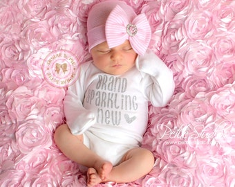Newborn outfit, hospital outfit, coming home outfit, baby girl, newborn, infant girl, baby hospital outfit, hospital bow outfit