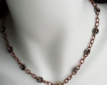 Copper Chain and Rhinestone Choker Necklace, Rhinestone and Copper Choker Necklace, Choker Necklace, Rhinestone Choker, Boho Necklace