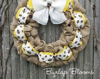 Bumble Bee Wreath, Burlap Wreath, Spring Wreath, Summer Wreath, Everyday Wreath, Year Round Wreath, Honey Bee Wreath