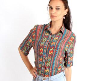 Vintage Aztec Geometric Tribal Colorful Buttoned Short Sleeve Shirt / Blouse