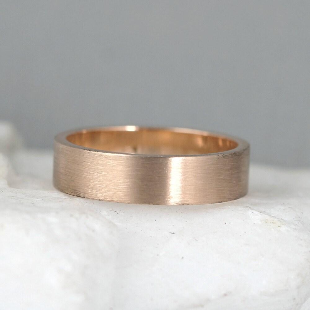 5mm 14K Rose Gold Wedding Band Mens Or Ladies Wedding Rings
