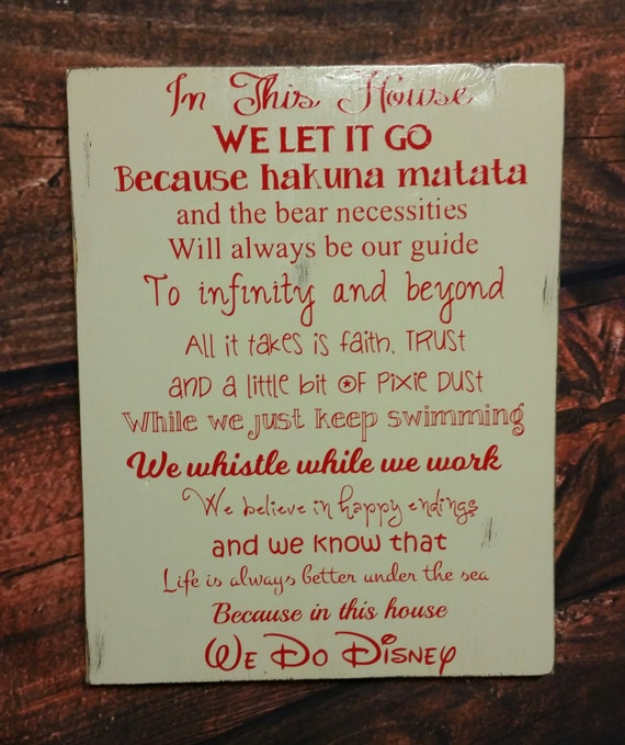 Disney Quote Plaques: Disney Sign We Do Disney In This House We Do Disney Wooden