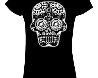 """Sugar Skull T Shirt Mexican """"Day of the dead"""" Men's Women's sizes 11 colours"""