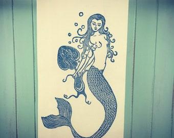 Block Printed Mermaid with Purse and Skate Fish