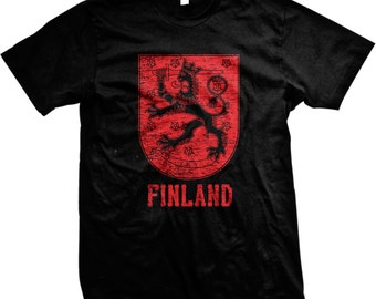 Distressed Finland Coat of Arms, Republic of Finland,Finnish, Finn, Country Symbol, Crest, Nationality, Mens Finland T-shirts GH_02170_tee