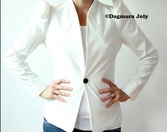 Women peplum jacket, short tailored jacket, pleated jacket, puff sleeve jacket