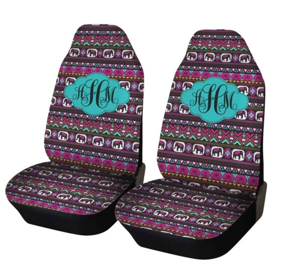 Elephant Aztec Car Seat Covers Set Of Two Front Seat