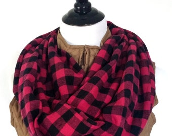 Soft Hot Pink and Black Buffalo Plaid Flannel Infinity Scarf.