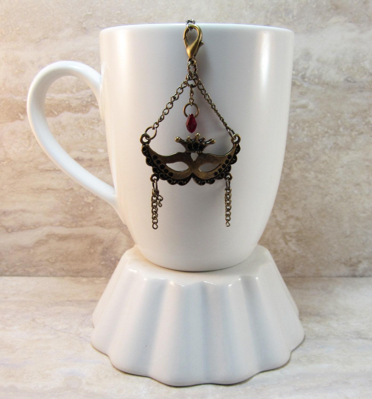 bronze mardi gras tea infuser charm carnival mask new