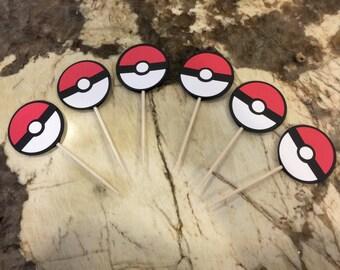 12 Pokemon Inspired Cupcake Toppers - Pokemon Pokeball - Pokemon Party - Pokemon Go