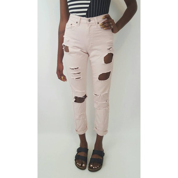 Size 2 High Waist 90's Pastel Pink Shredded Jeans - Small 4 Destroyed Denim Ripped Knees- Highwaisted Mom Baby Pink Holey Grunge Jeans