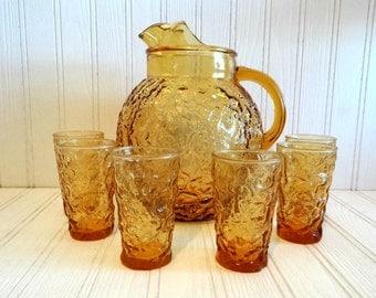 Vintage Anchor Hocking Lido Milano Amber Glass Pitcher With 6 Juice Glasses Set 1960's, Retro Honey Textured Barware Drinkware Set, Serving