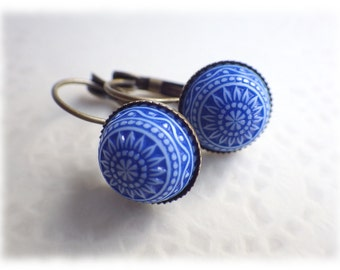 Mosaic Blue - Earrings earrings in vintage style with cabochon cornflower blue