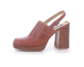 Tan Leather Sandals Chunky Sandals Platform Sandals Slingback Sandals Slingback Mule 90s Vintage Sandals Women's Size US 8 / UK 6 / EUR 38