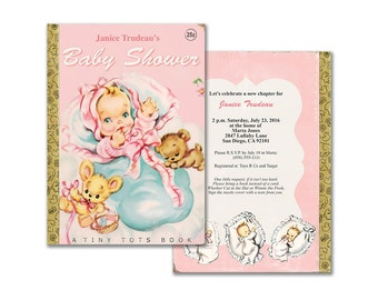 Printable baby girl storybook shower invitation / pink vintage book themed invite / editable PDF/ customize it yourself / instant download