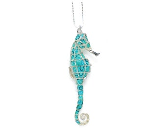 """Seahorse Necklace – 925 Sterling Silver Handmade Turquoise Polymer Clay Pendant - 16.5"""" Chain"""
