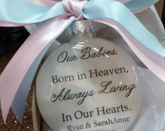 Twins Miscarriage Memorial Ornament - Pink & Blue Ribbon - Our Babies Born in Heaven - Personalized In Memory Pregnancy Loss - Christmas