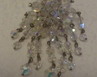 vintage glass/crystal bead waterfall brooch