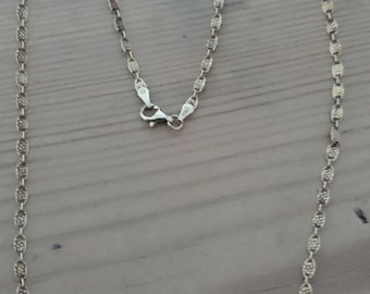 Vintage sterling silver gilded fancy link chain necklace