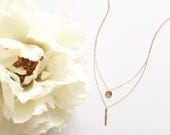 Gold Layers Necklace| 14k Gold Filled Necklace | Vertical Bar and Circle Charm Necklace