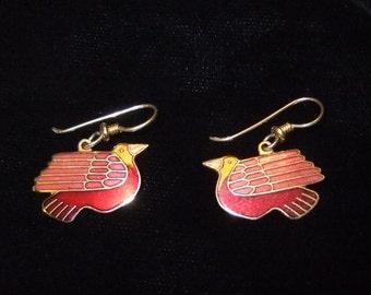 Laurel Burch Red and Golden Yellow Cloisonné Enamel Bird Earrings