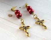 Gold Cross Jewelry Earrings, Christian Jewelry, Gold Cross Earrings Jewelry/ studs, Cross Jewelry, Red and Gold Earrings