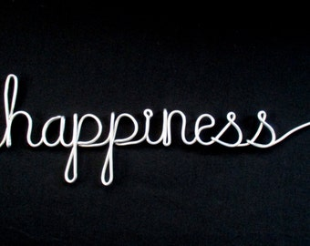 wire word happiness, wire words, wire script words, wire cursive words, wire word art, hanging words, word wall art,