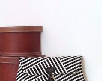 Clutch / Clutch Bag / Large Clutch Bag / Clutch Purse / Purse / Evening Bag / Handbag / Black and White