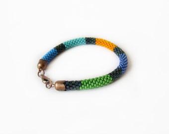 Teen gift Colored Beaded Bracelet Striped Multicolor seed bead bracelet Colorful bright beaded rope Green orange blue bracelet Minimal Yoga