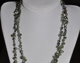 Genuine Pearl Necklace Green Olive Hand Knotted 2 Strand Cultivated Keshi - 18.5 inch #675