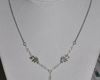 Necklace Silver Dragonfly Leaf Clear Crystal Chain #92